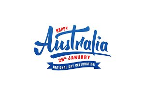 Australia Day. Lettering logo for Australia National Day