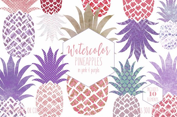 Pink & Purple Tropical Pineapples