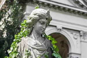 Statue covered with ivy