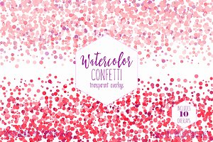 Pink Watercolor Confetti Overlays