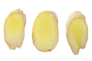 Collection of three slices ginger