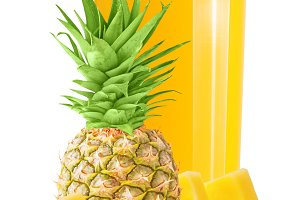 One glass with fresh pineapple juice