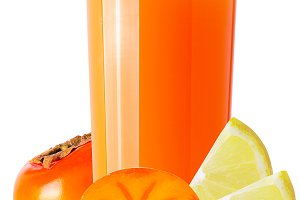 persimmon juice and cut fruits