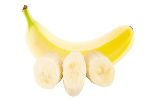 One whole fresh banana and slices