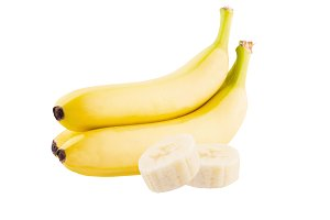 Three fresh banana slices on white