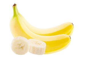 Two whole fresh banana and skiced
