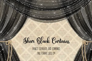 Sheer Black Curtain Overlays