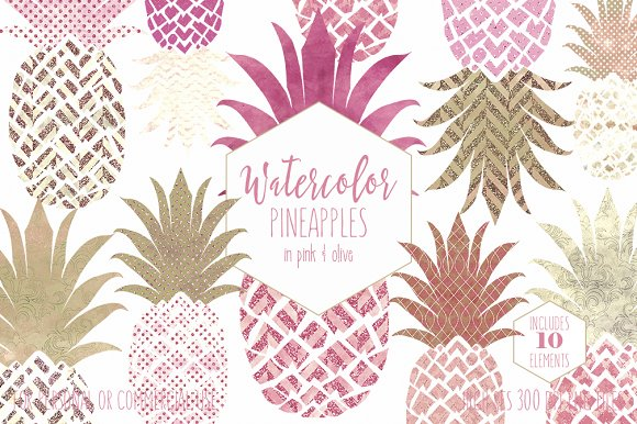 Pink & Rose Gold Tropical Pineapples