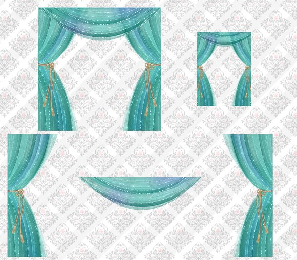 Sheer Aqua Curtain Overlays in Objects - product preview 1