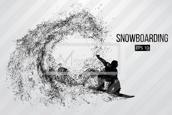 Silhouette of a snowboard rider in Illustrations