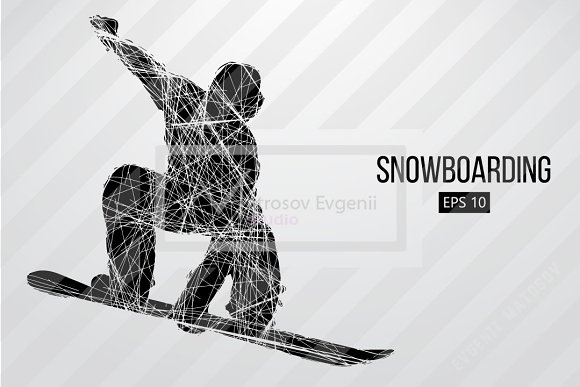 Silhouette of a snowboard rider. Set in Illustrations - product preview 4