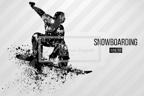 Silhouette of a snowboard rider. Set in Illustrations - product preview 6