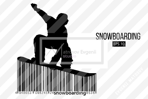 Silhouette of a snowboard rider. Set in Illustrations - product preview 7