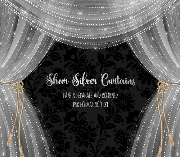 Sheer Silver Curtain Overlays in Objects