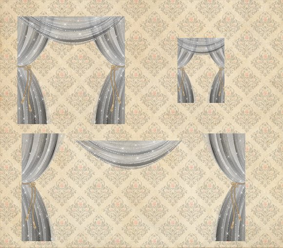 Sheer Silver Curtain Overlays in Objects - product preview 1