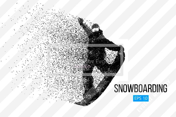 Silhouette of a snowboard rider in Illustrations - product preview 1