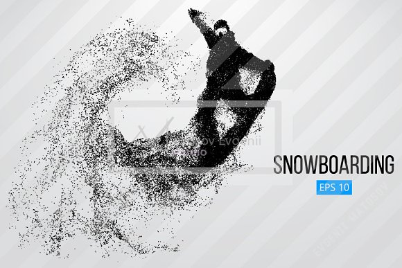 Silhouette of a snowboard rider