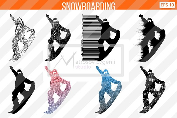 Silhouette of a snowboard rider. Set in Illustrations