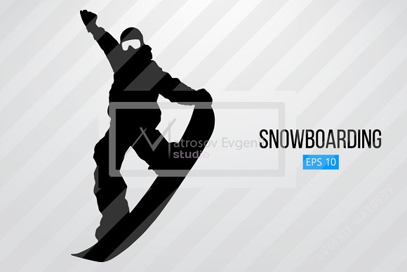 Silhouette of a snowboard rider. Set in Illustrations - product preview 1