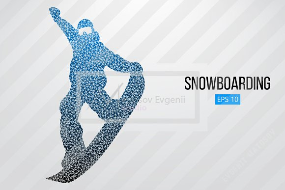 Silhouette of a snowboard rider. Set in Illustrations - product preview 3