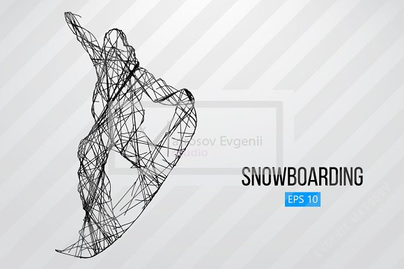 Silhouette of a snowboard rider. Set in Illustrations - product preview 5