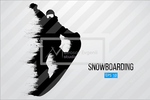 Silhouette of a snowboard rider. Set in Illustrations - product preview 8