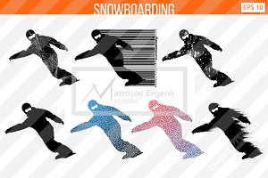 Silhouette of a snowboard rider from
