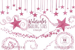 Mauve Pink Celestial Stars Clipart