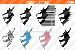 Silhouette of a snowboard rider. Set