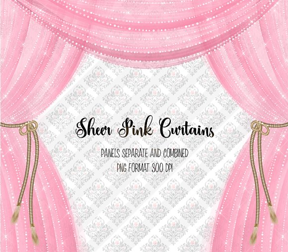 Sheer Pink Curtain Overlays