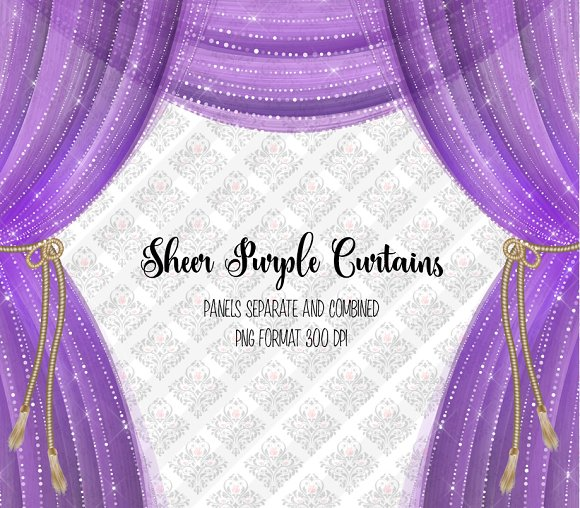 Sheer Purple Curtain Overlays in Objects