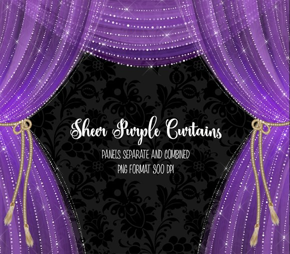 Sheer Purple Curtain Overlays in Objects - product preview 1