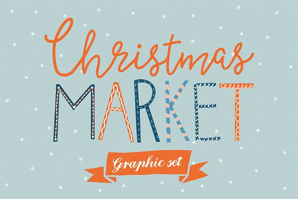 Christmas Market graphic set