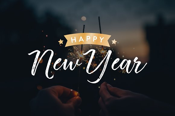 New Years 2018 Vector Text Set