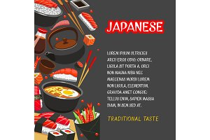 Japanese seafood sushi poster for menu design