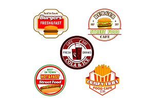 Fast food burger snack and soda drink label design
