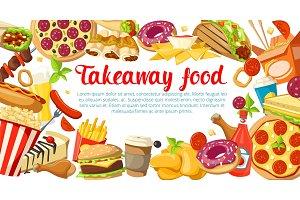 Fast food poster with frame of takeaway dishes