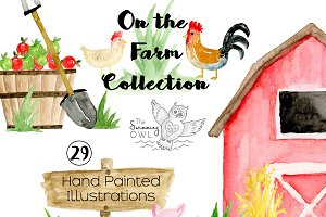 Farm Watercolor Clipart