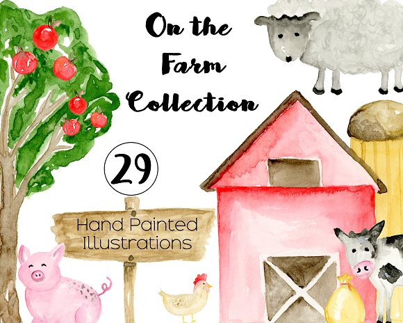 Farm Watercolor Clipart Illustrations Creative Market