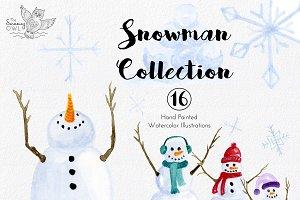 Snowman Watercolor Clipart