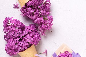 Lilac flowers in waffle cones an box