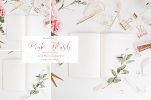 Pink Notebook Styled Stock Photo