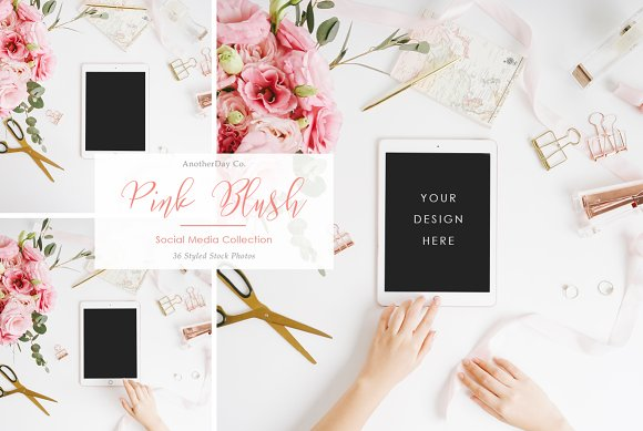 Pink Blush iPad Styled Stock Photo