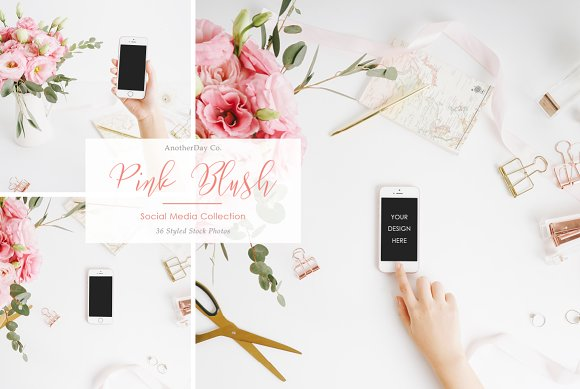Pink Blush iPhone Styled Stock Photo in Product Mockups
