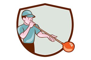 Glassblower Glassblowing Cartoon Shi
