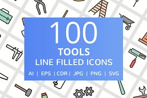 100 Tools Filled Line Icons