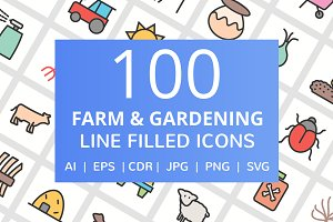 100 Farm & Garden Filled Line Icons