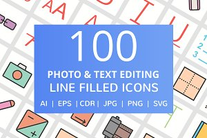 100 Photo & Editing Filled Line Icon
