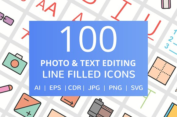 100 Photo Editing Filled Line Icon