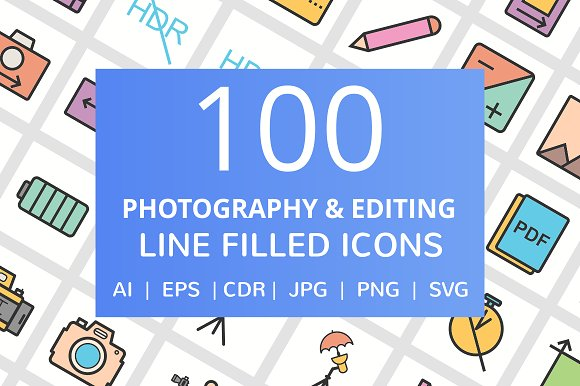 100 Photography Filled Line Icons